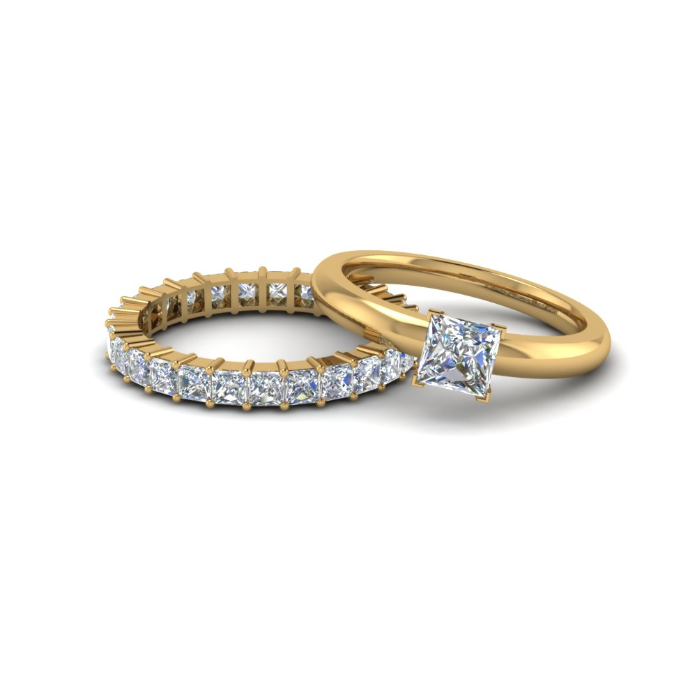 princess cut solitaire engagement ring with diamond eternity band in 14K yellow gold FD8219B NL YG