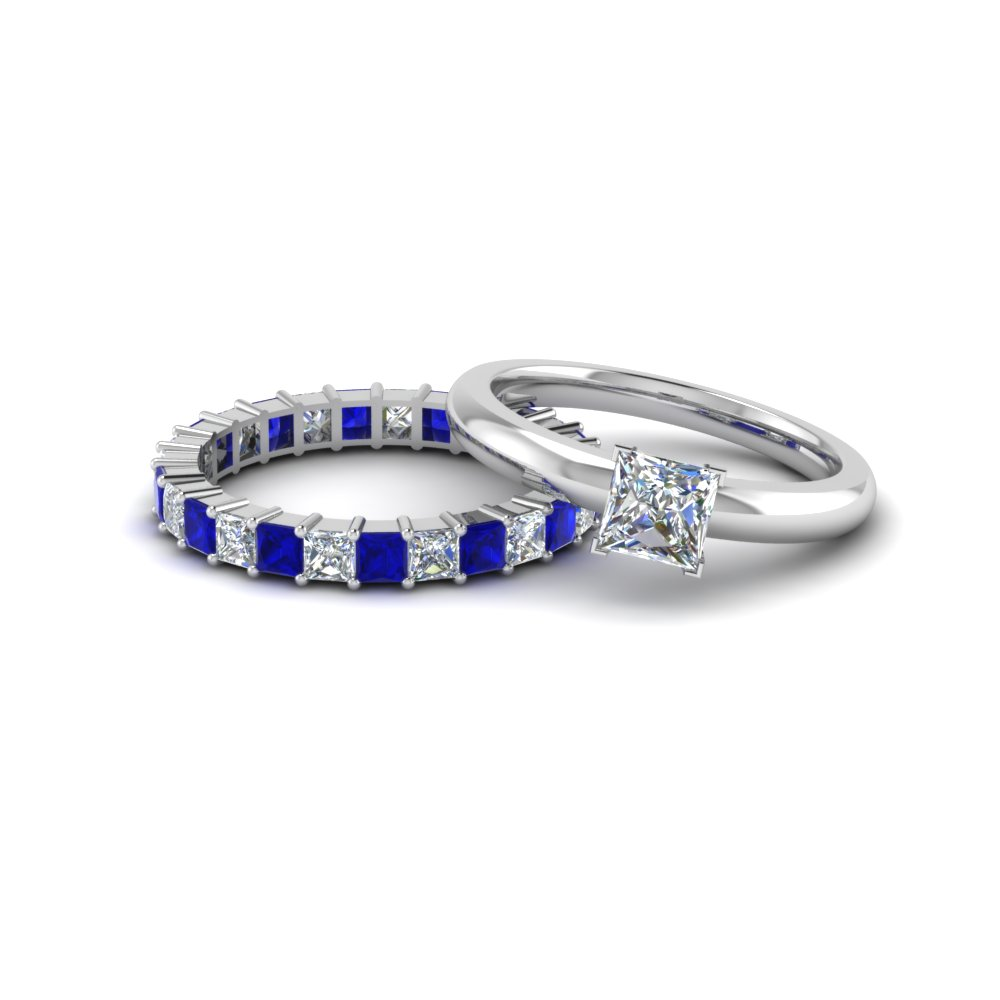 princess cut solitaire engagement ring with sapphire eternity band in 14K white gold FD8219BGSABL NL WG