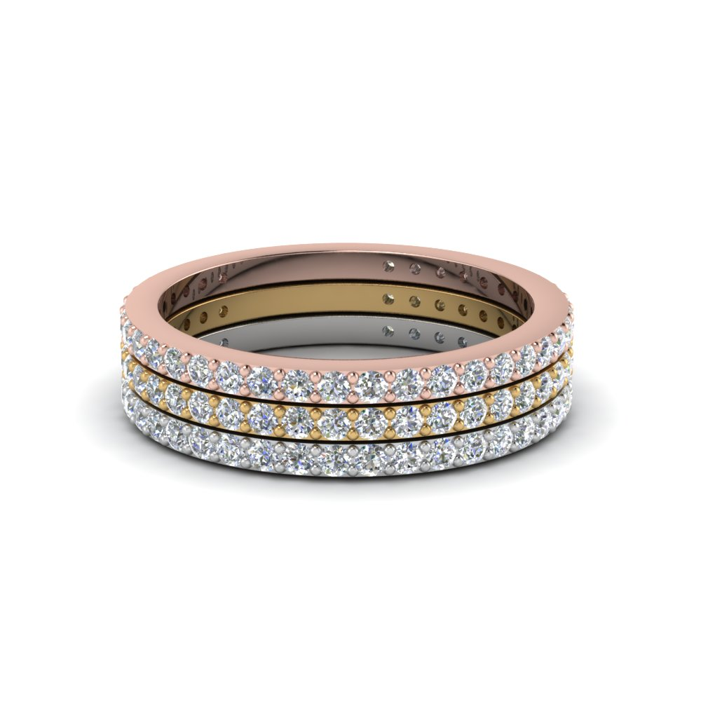 Round Pave Set Simple Stacked Wedding Rings