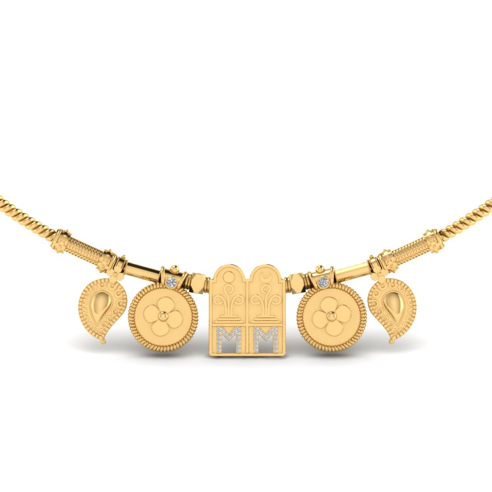 Tamilian Thali Mangalyam Set With Chain In 14K Yellow Gold | Mangalsutra