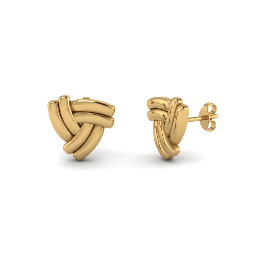 Yellow Gold Knot Design Women's Earrings