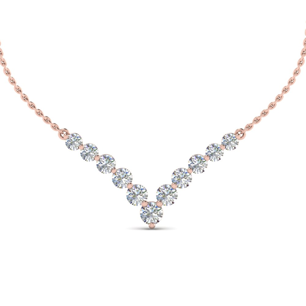 V Shaped Graduated Diamond Anniversary Necklace Gifts In 14K Rose Gold