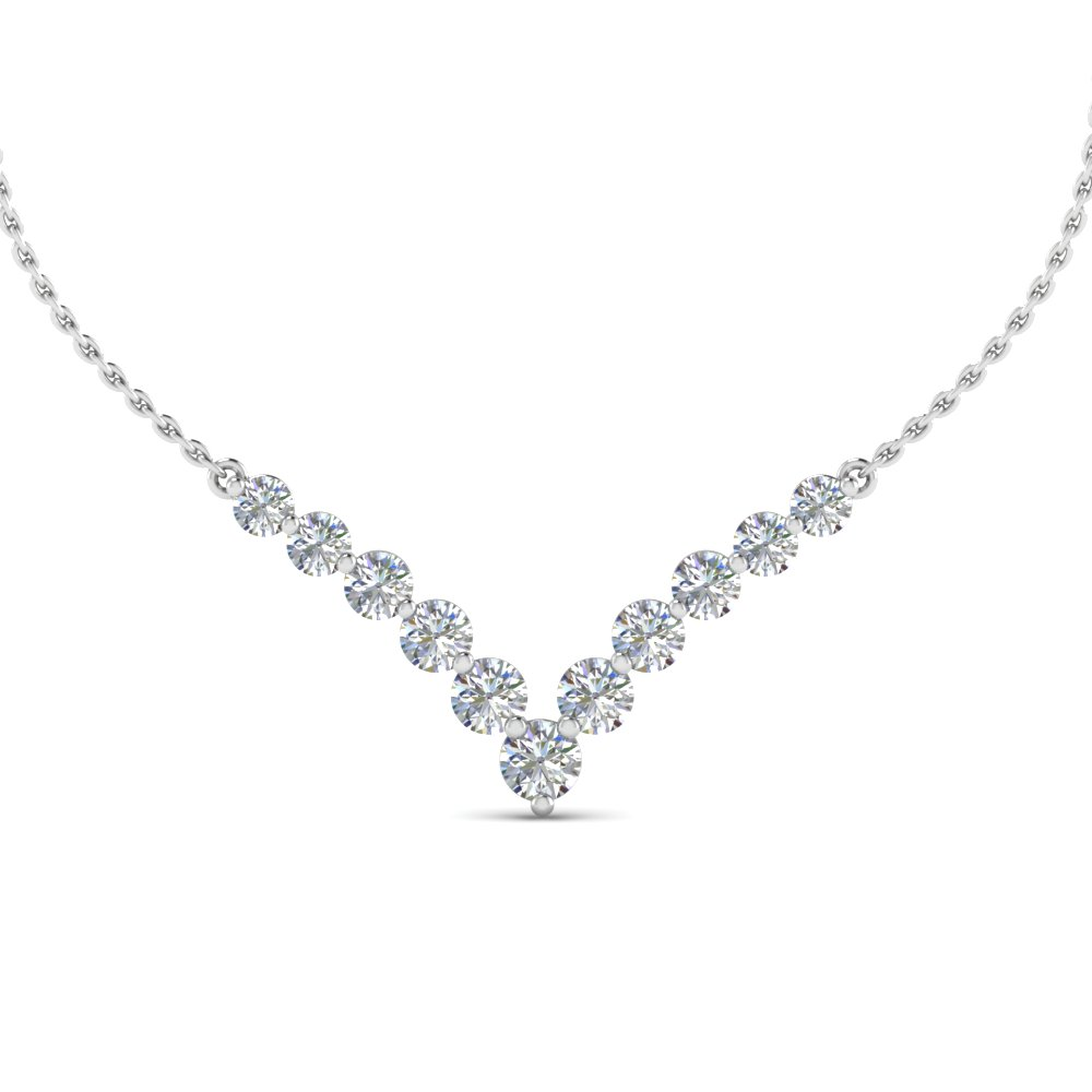 V Shaped Graduated Diamond Anniversary Necklace Gifts In 18K White Gold