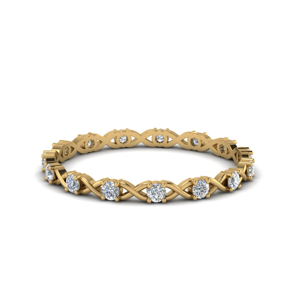 X design round diamond eternity band in FDEWB123627RO NL YG