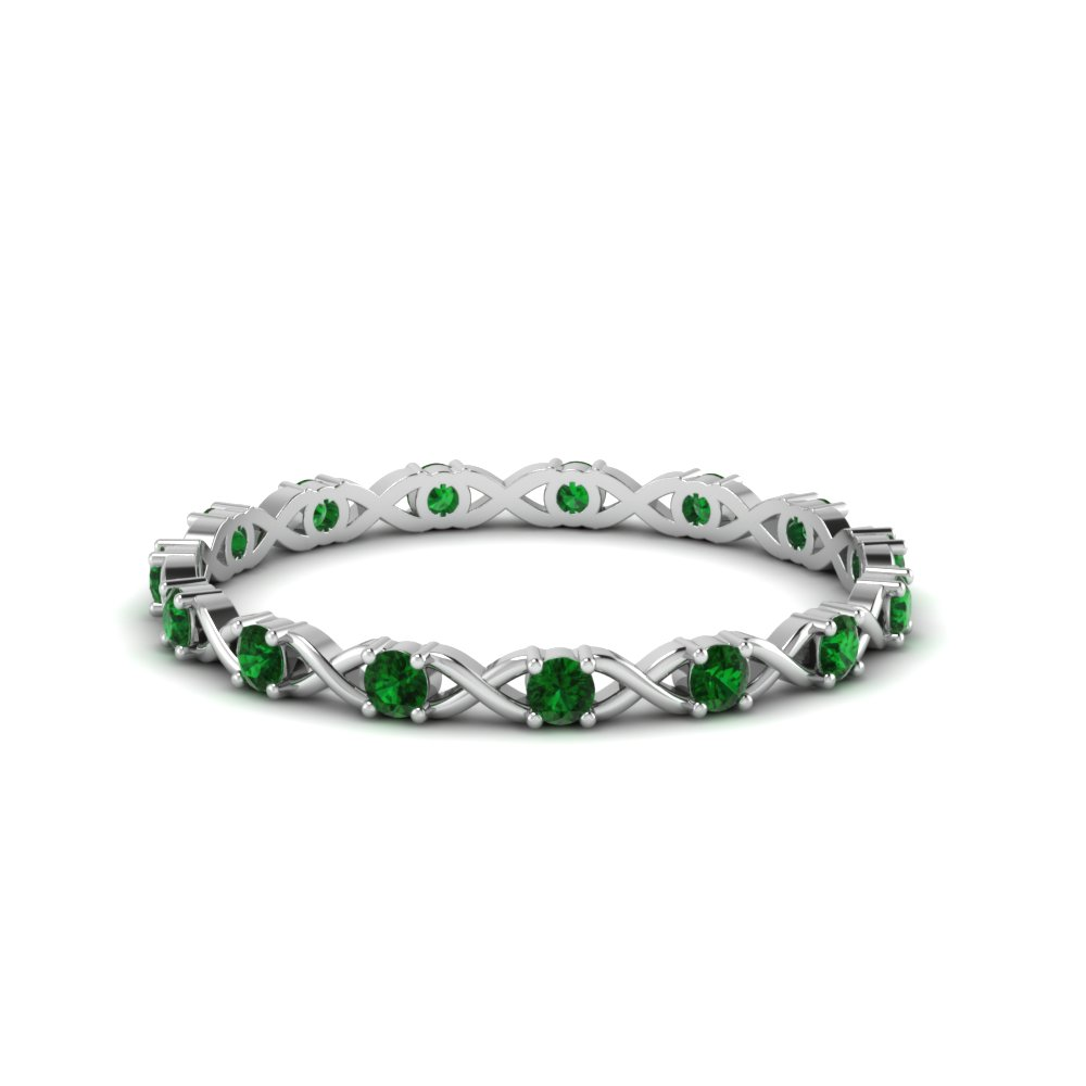 X design round eternity band with emerald in FDEWB123627ROGEMGR NL WG