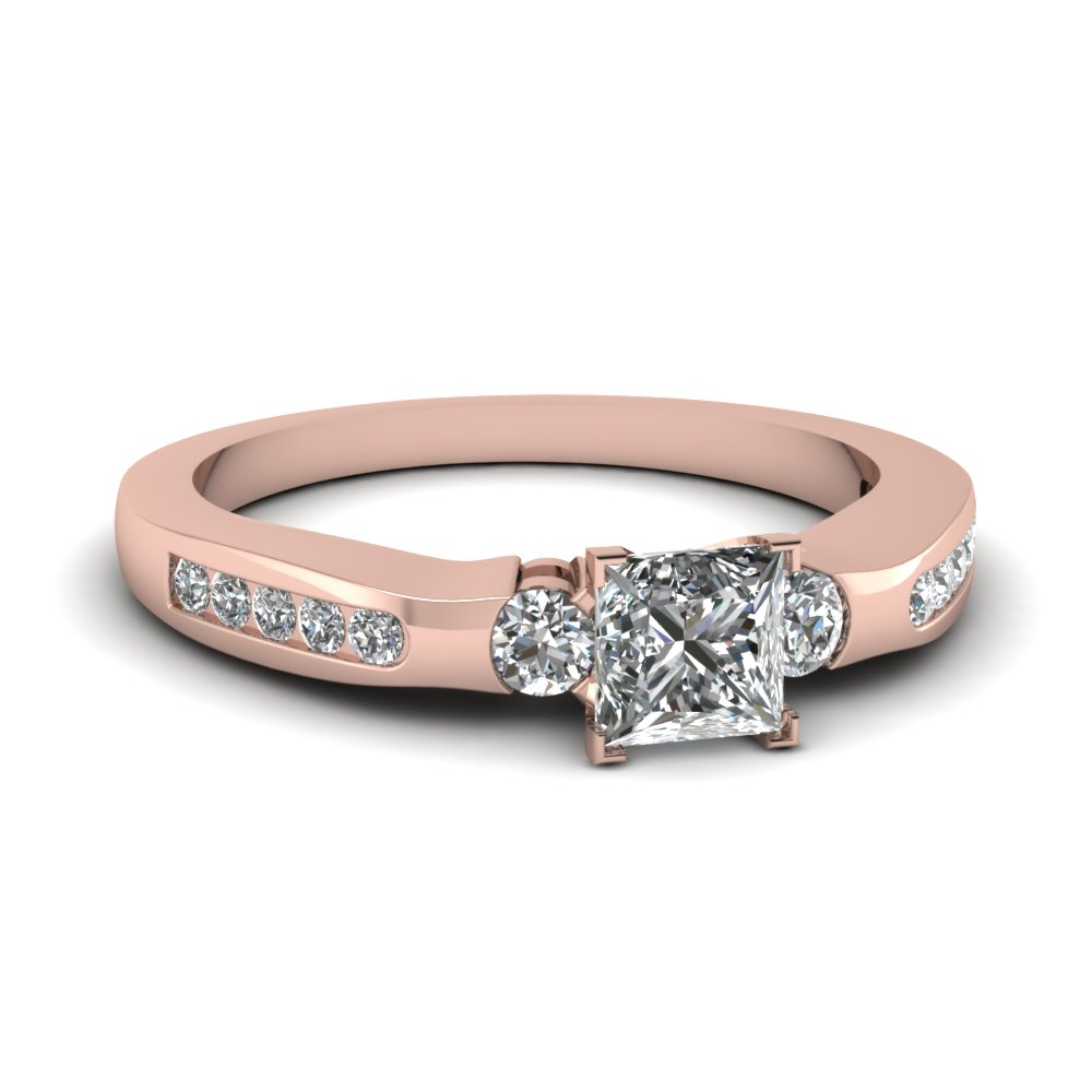 affordable 050 ct princess cut diamond beautiful engagement ring in 14k rose gold fdens1157prr nl - Beautiful Wedding Rings