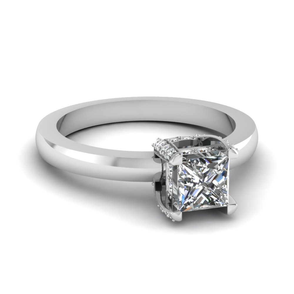 affordable 0.50 ct. princess cut prong stud diamond engagement ring in 14K white gold FDENR8987PRR NL WG