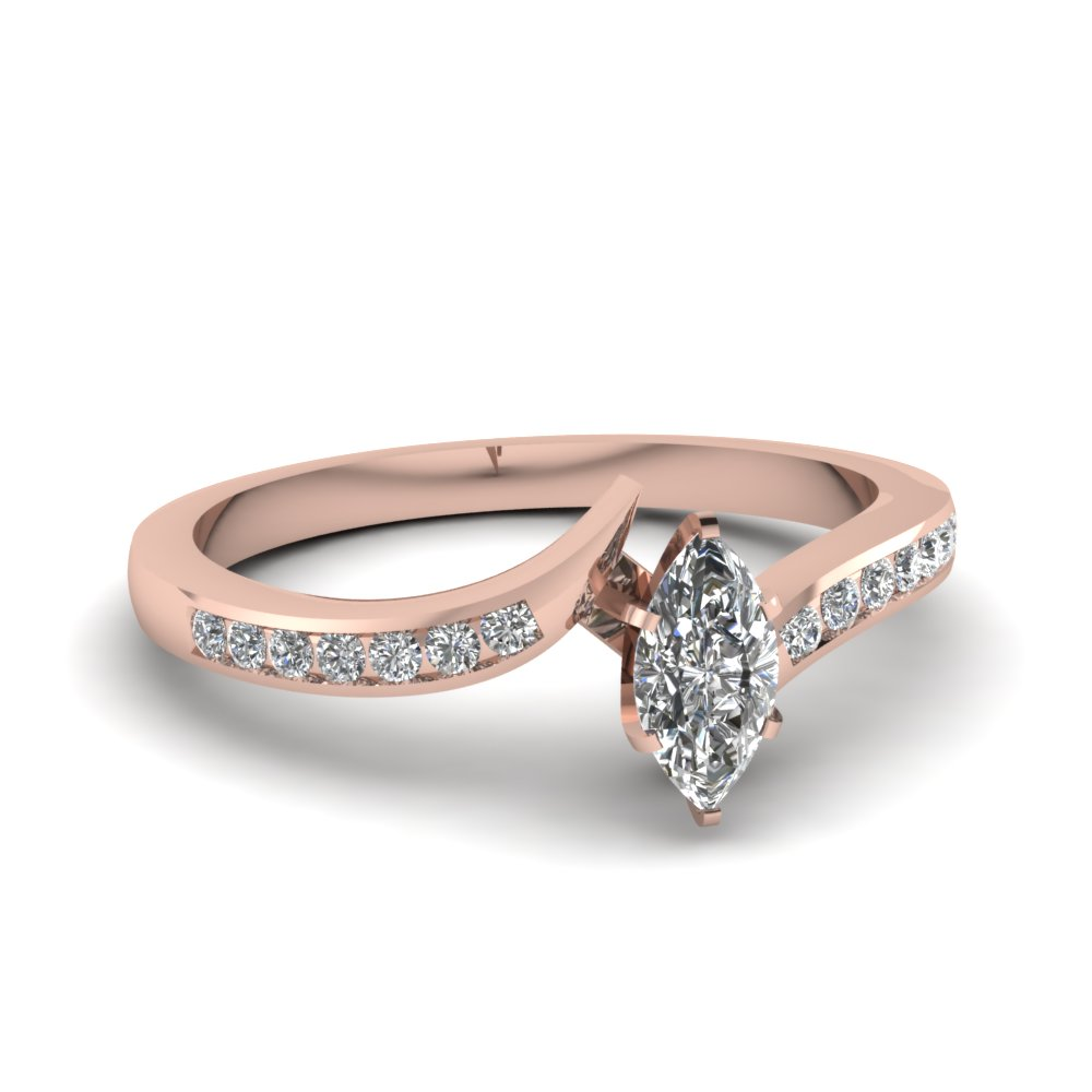 Marquise Cut Engagement Rings In 0.50 Ct.