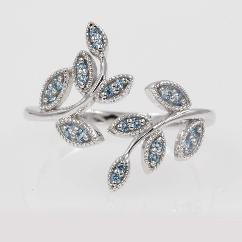 affordable blue topaz fashion ring in 14K white gold FD8342GTOICBL