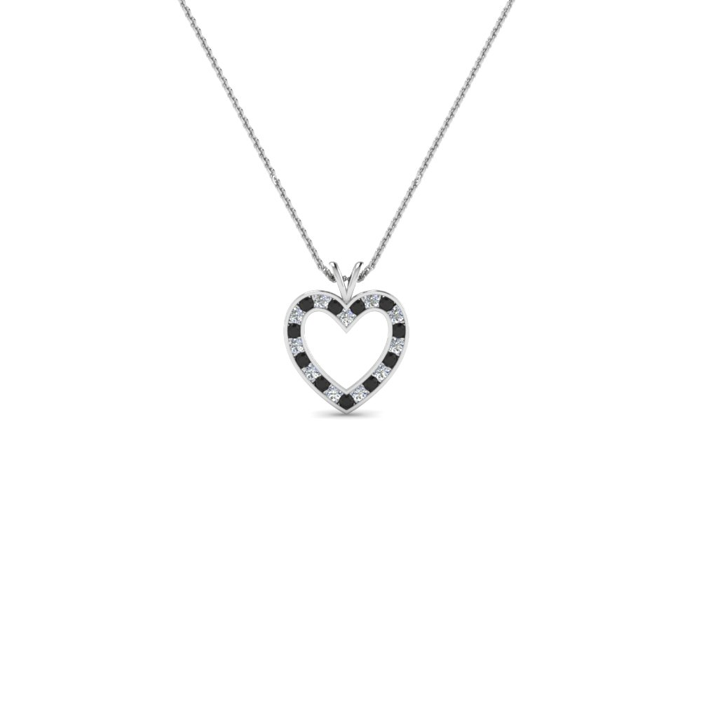 affordable heart pendant necklace for women with black diamond in FDHPD200WDGBLACK NL WG
