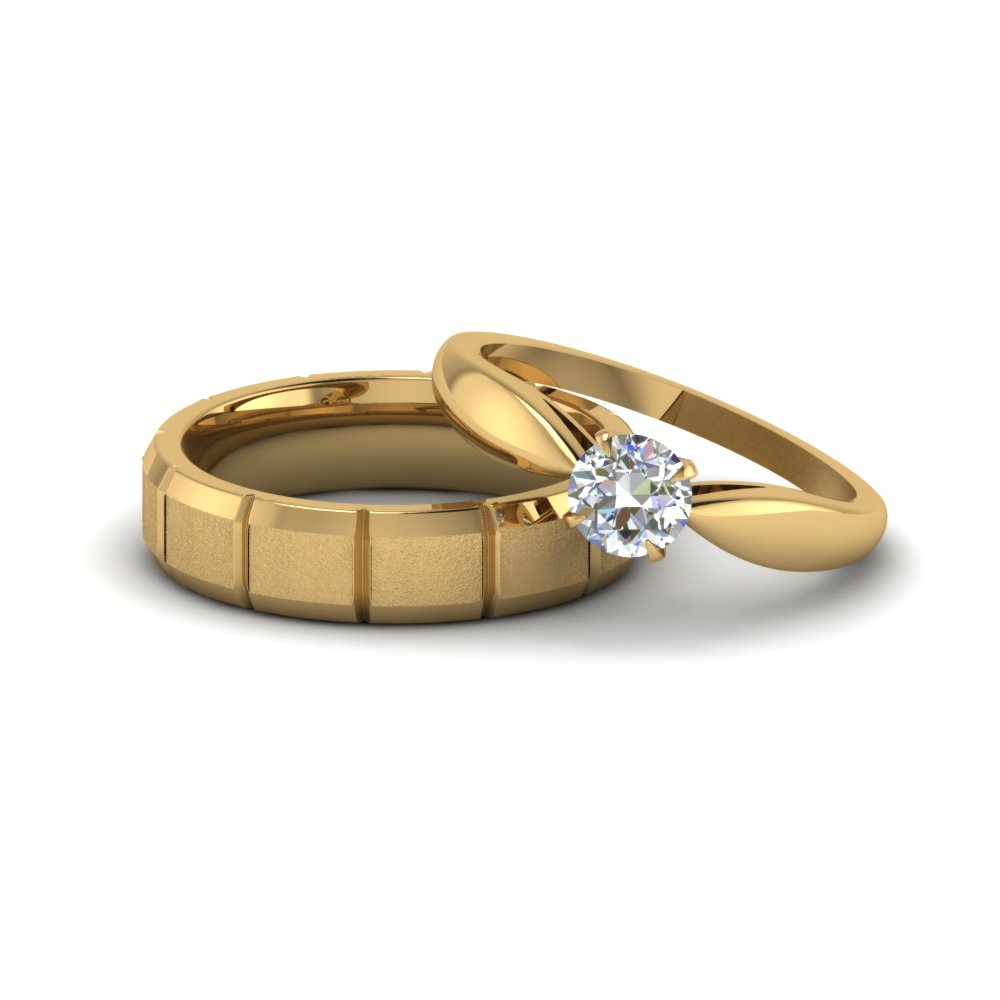 Solitaire Diamond Matching Wedding Rings For Couples
