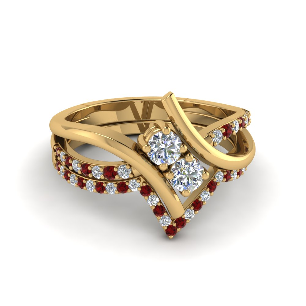 2 Stone Ring With Pave Ruby Accents Band
