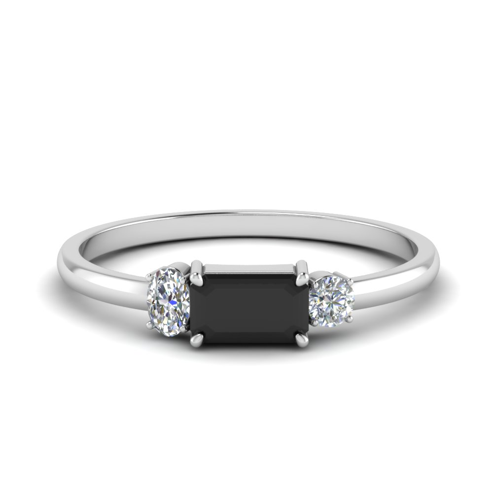 Alternate Black Diamond 3 Stone Ring