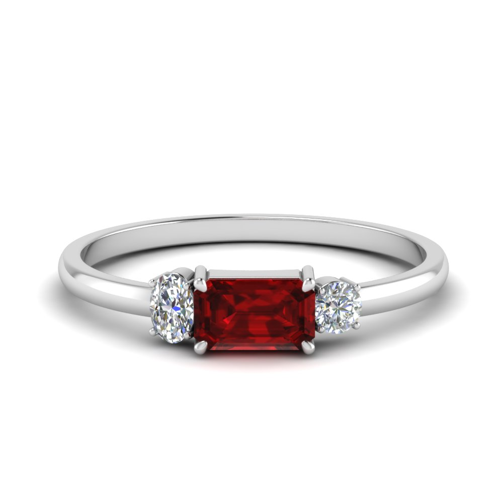 Unconventional Ruby 3 Stone Ring