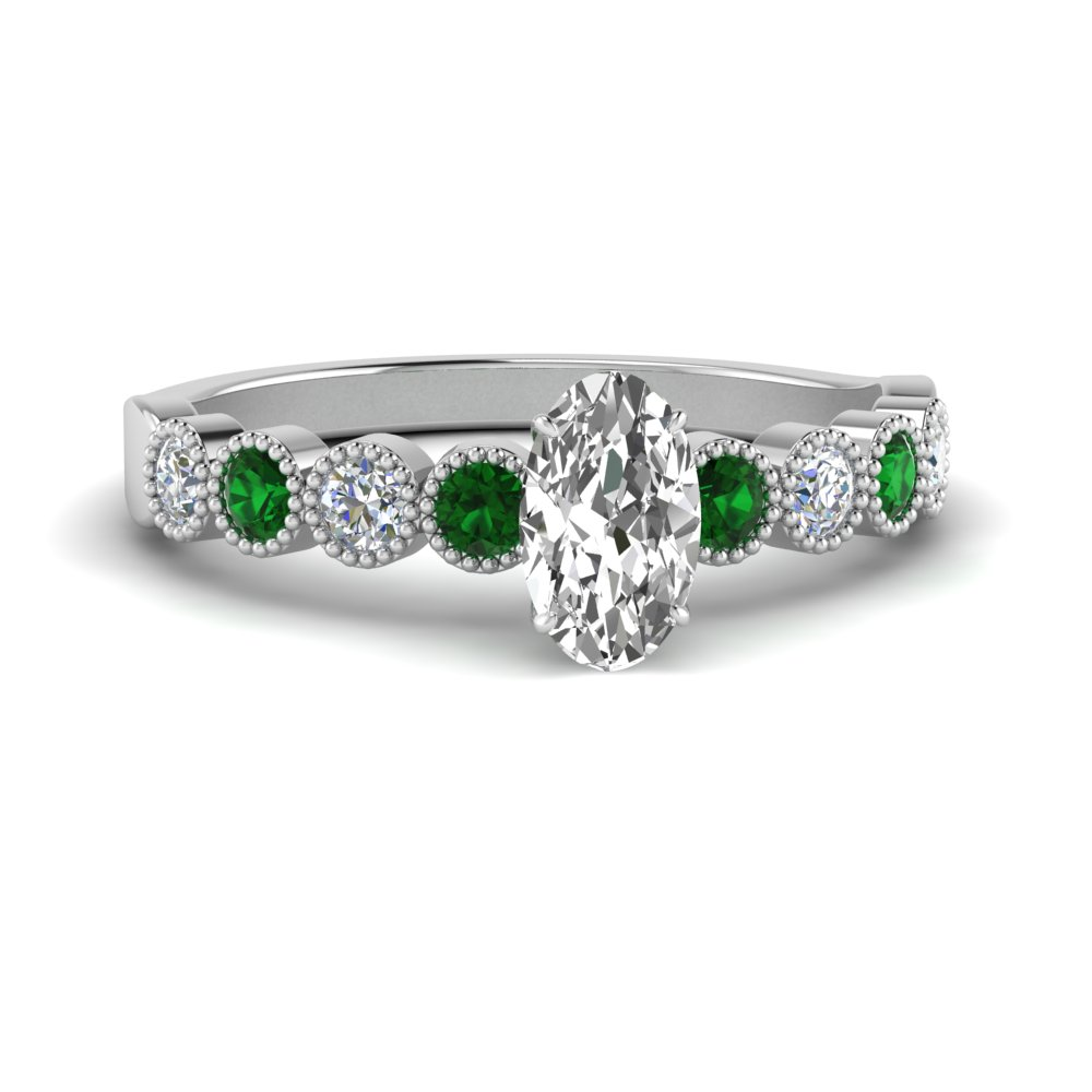 antique-bezel-set-oval-diamond-engagement-ring-with-emerald-in-FD9337OVRGEMGR-NL-WG