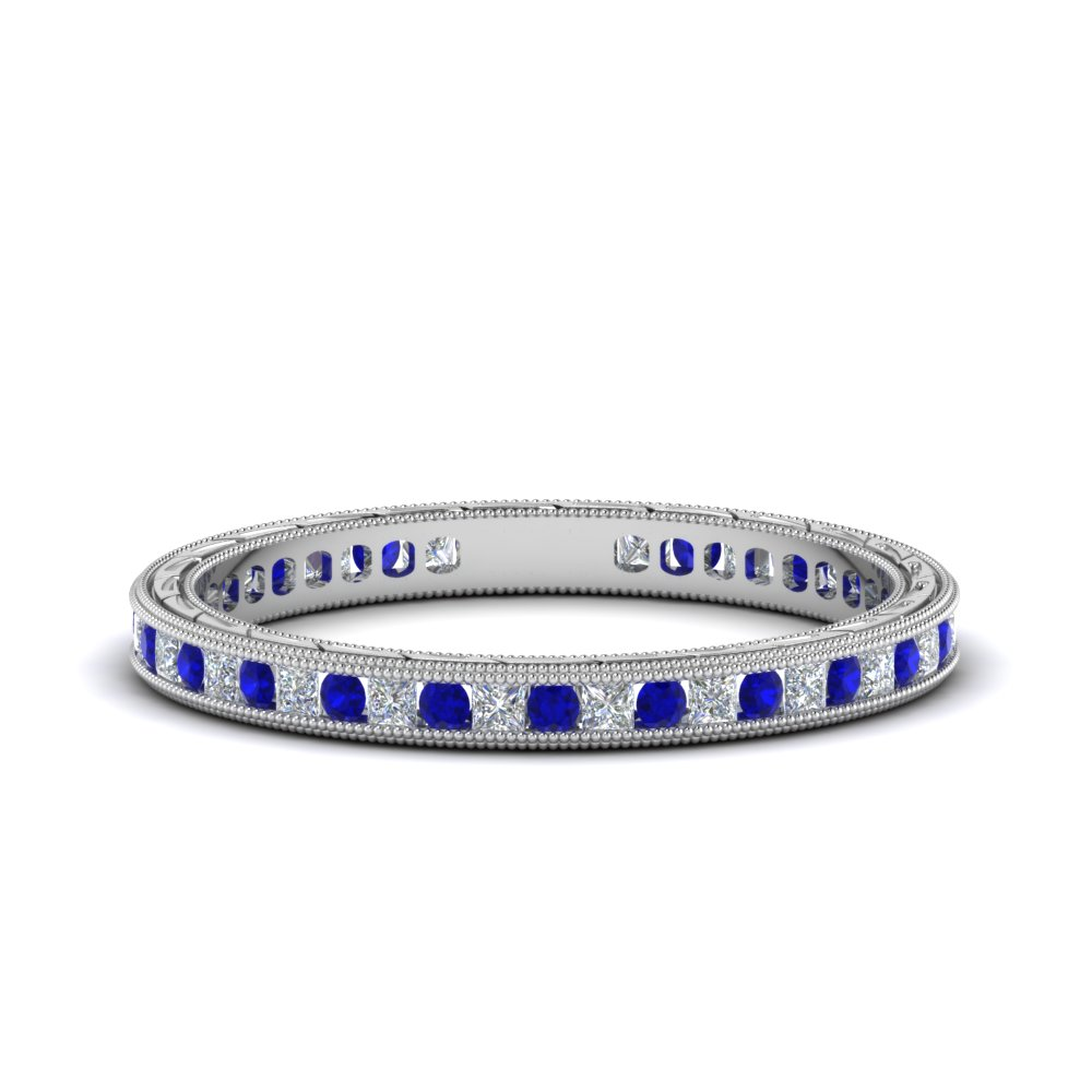 Antique Blue Sapphire Eternity Band