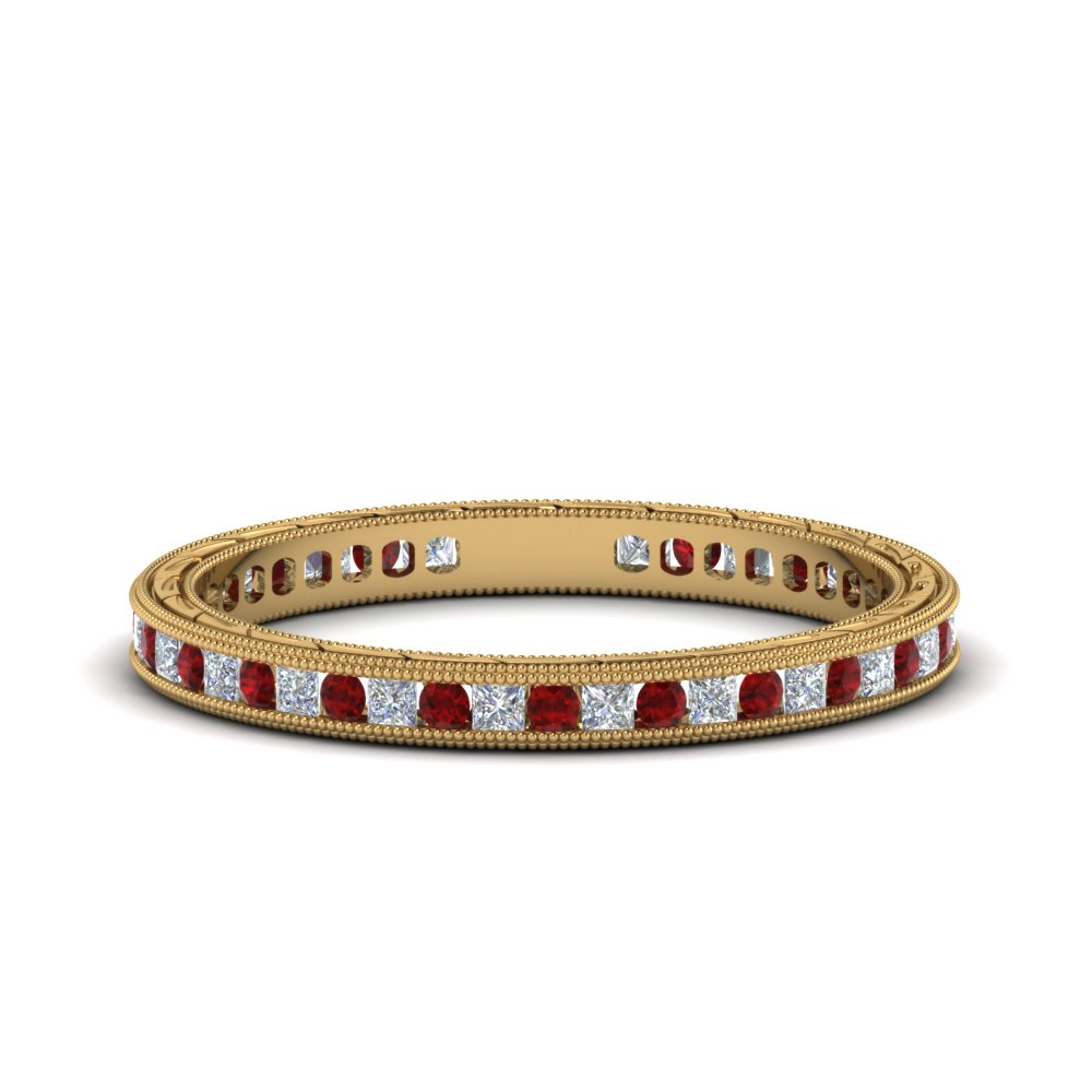 0.50 ct. antique channel diamond eternity band with ruby in 14K yellow gold FDEWB69814BGRUDR NL YG