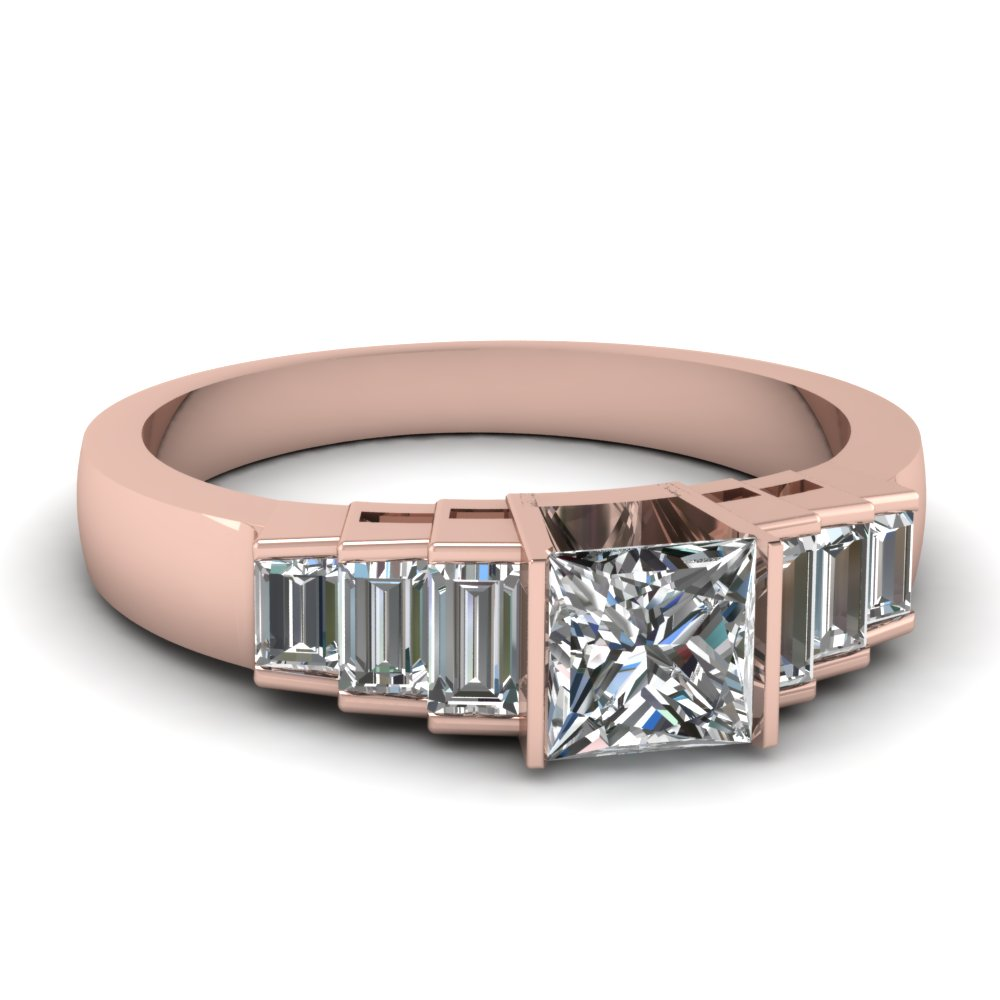 Princess Cut Wide Diamond Ring