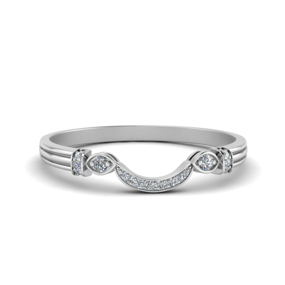 Antique Custom Curved Diamond Band In 14K White Gold