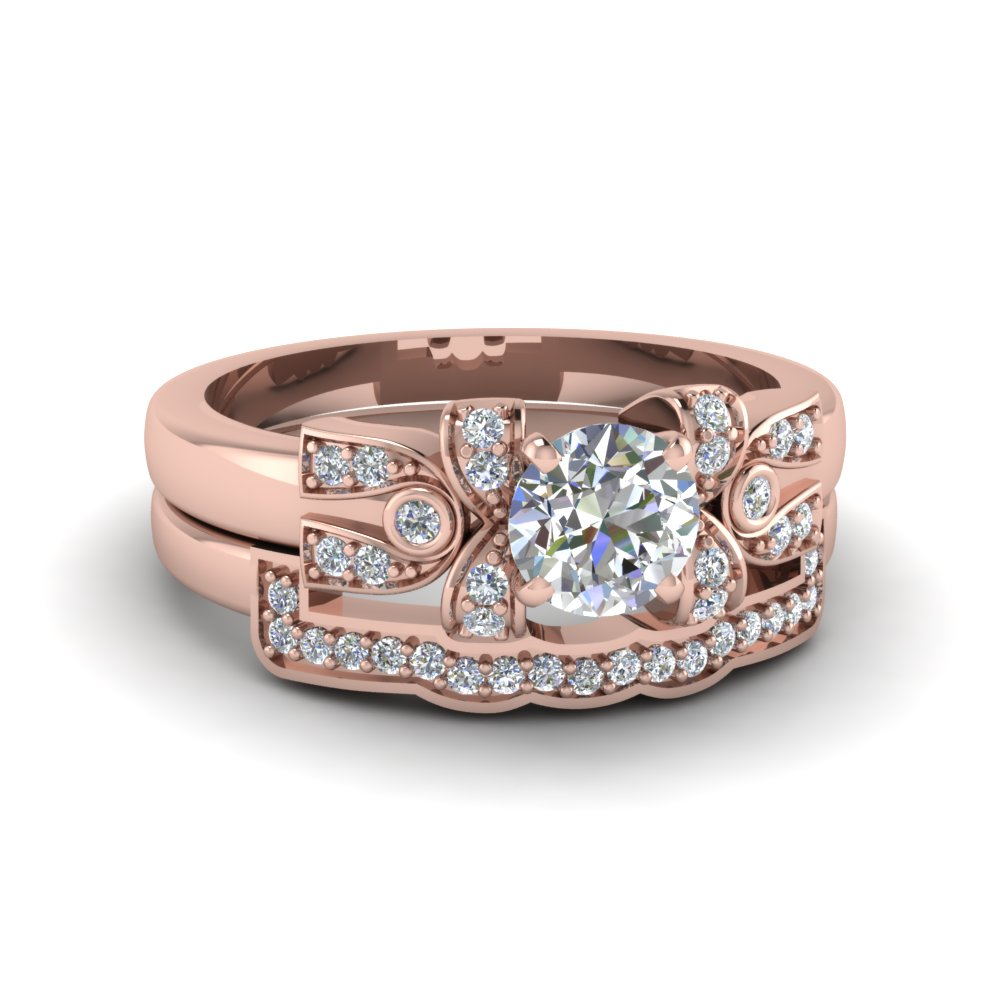 Antique Design Diamond Bridal Set In 14K Rose Gold