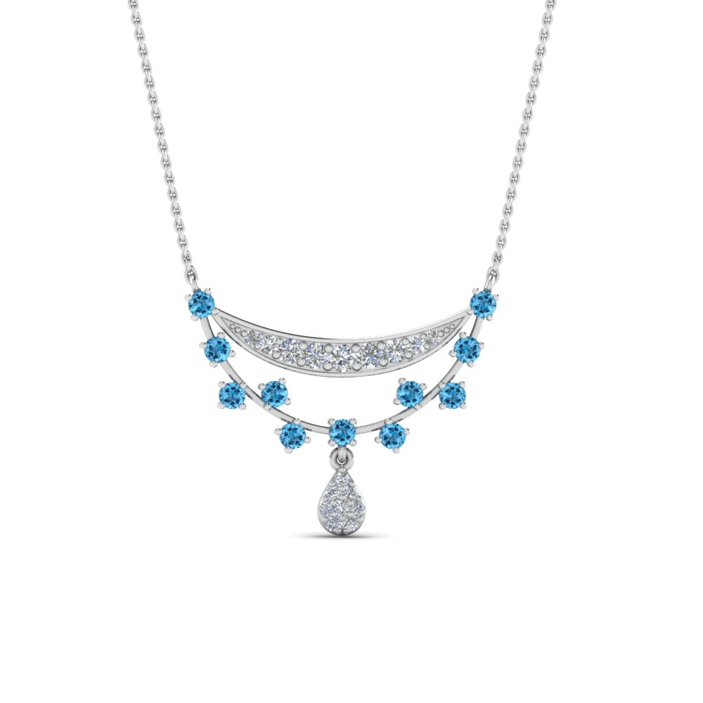 Blue Topaz Antique Drop Pendant