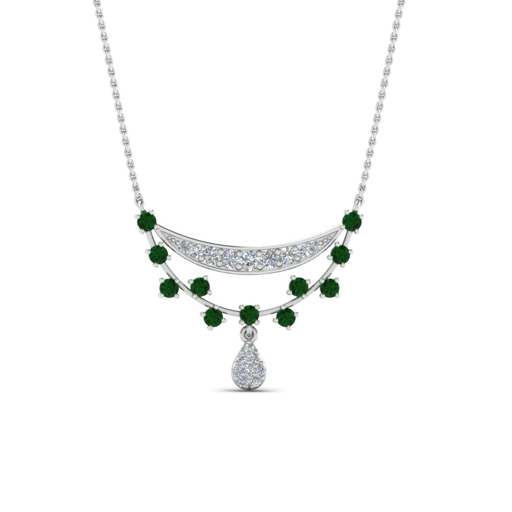 Platinum Drop Emerald Pendant
