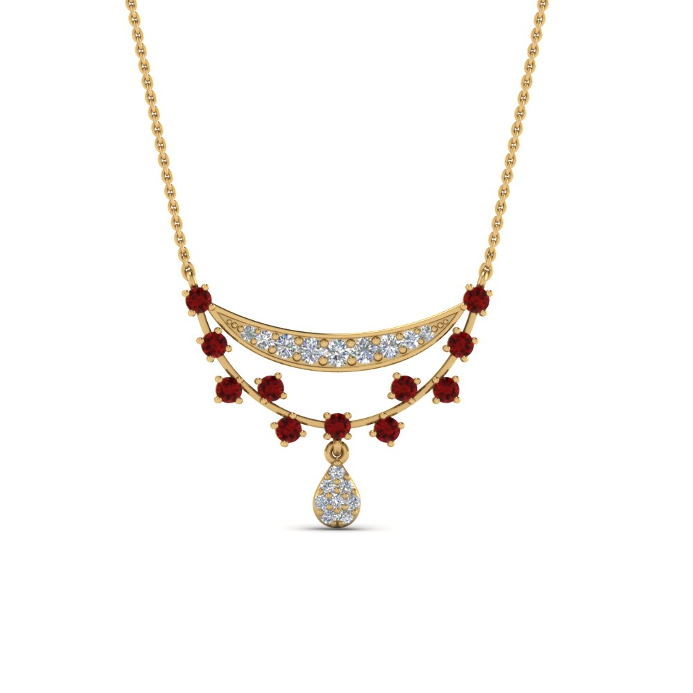 Antique Design Drop Ruby Pendant