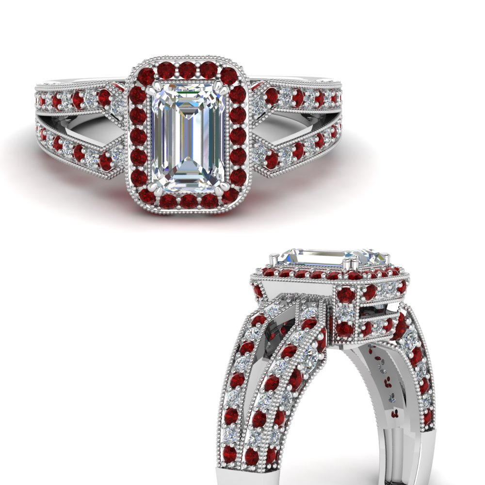 antique design hidden halo emerald cut diamond engagement ring with ruby in FDENR8757EMRGRUDRANGLE3 NL WG.jpg