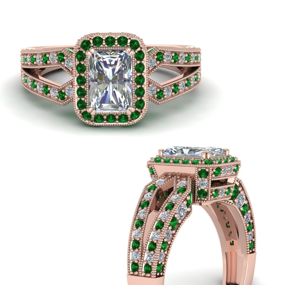 antique design hidden halo radiant cut diamond engagement ring with emerald in FDENR8757RARGEMGRANGLE3 NL RG.jpg