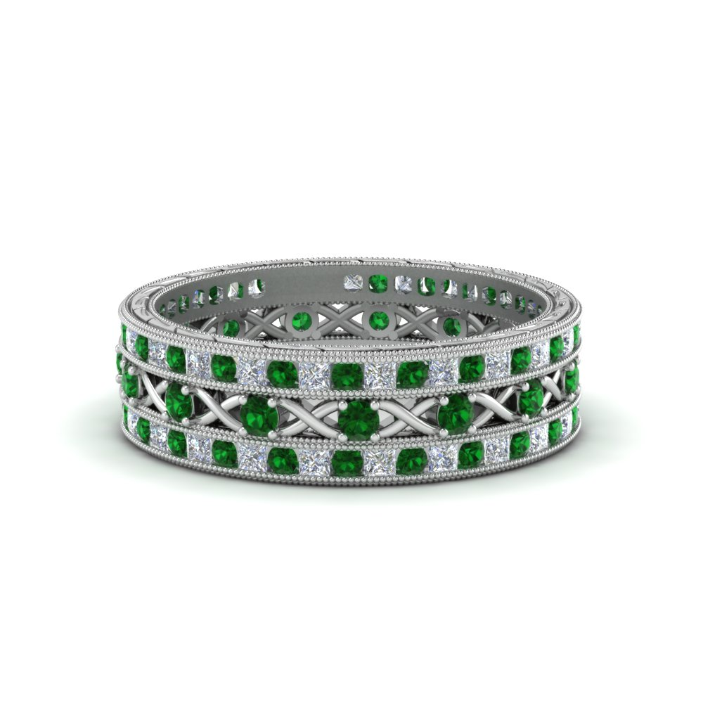 antique-diamond-stackable-band-with-emerald-in-FD9117ROGEMGRANGLE3-NL-WG
