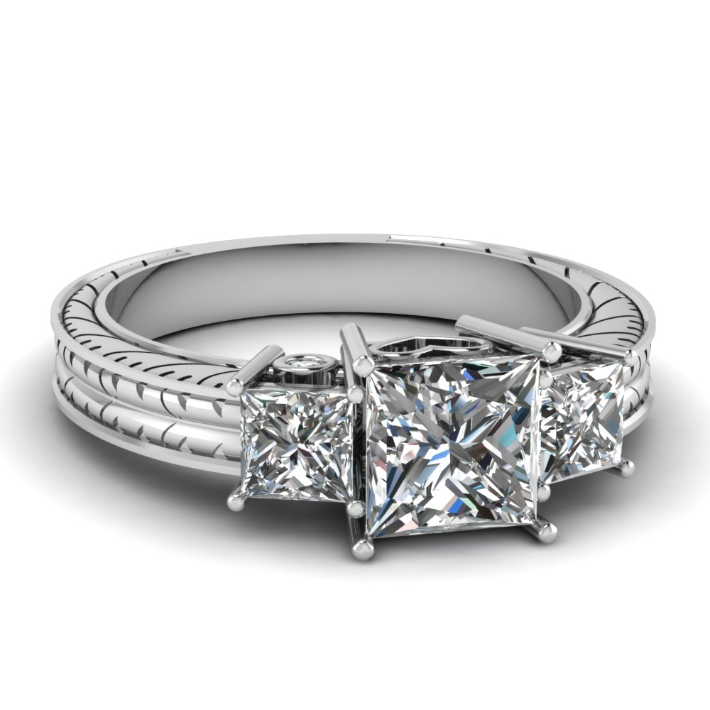 antique engraved 1.50 ct. princess cut three diamond engagement ring in FDENR2642PRR NL WG