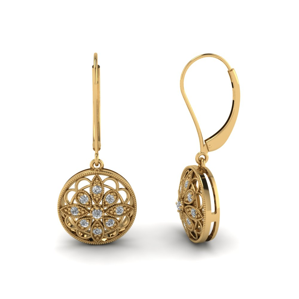 Antique Floral Drop Dangle Earring In 14K Yellow Gold