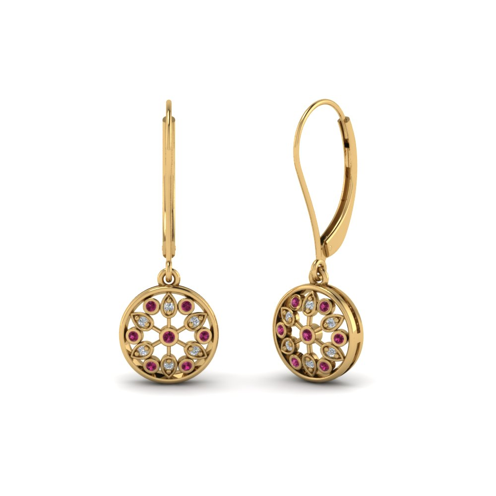 antique floral drop dangle diamond earring with pink sapphire in 14K yellow gold FDEAR8677GSADRPI NL YG