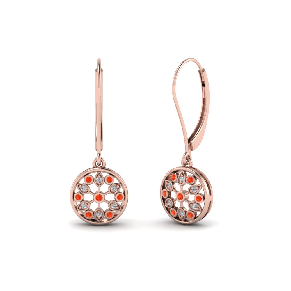antique floral drop dangle diamond earring with orange topaz in 14K rose gold FDEAR8677GPOTO NL RG