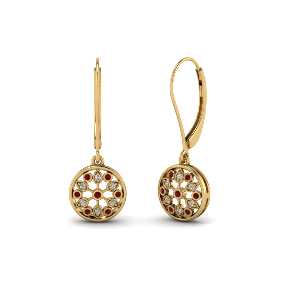 antique floral drop dangle diamond earring with ruby in 18K yellow gold FDEAR8677GRUDR NL YG