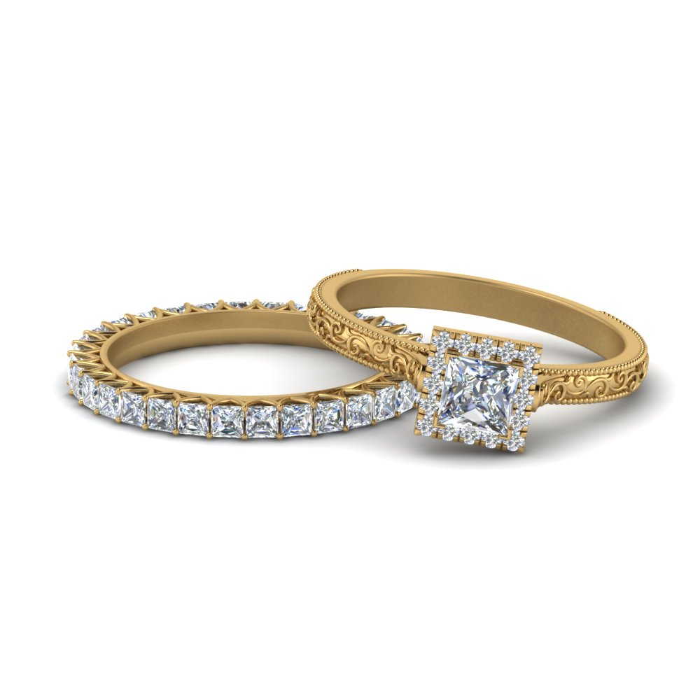 Princess Cut Halo RIng With Matching Band