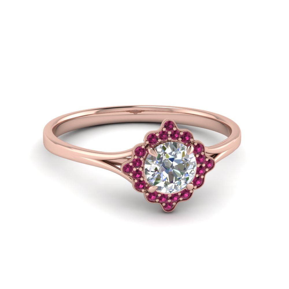 natural gold engagement rings engagementdetails cushion halo ring cfm pink diamond rose