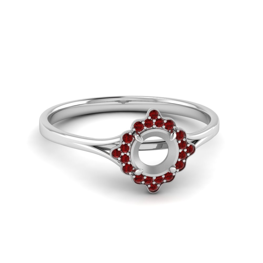 Antique Halo Ruby Ring Setting