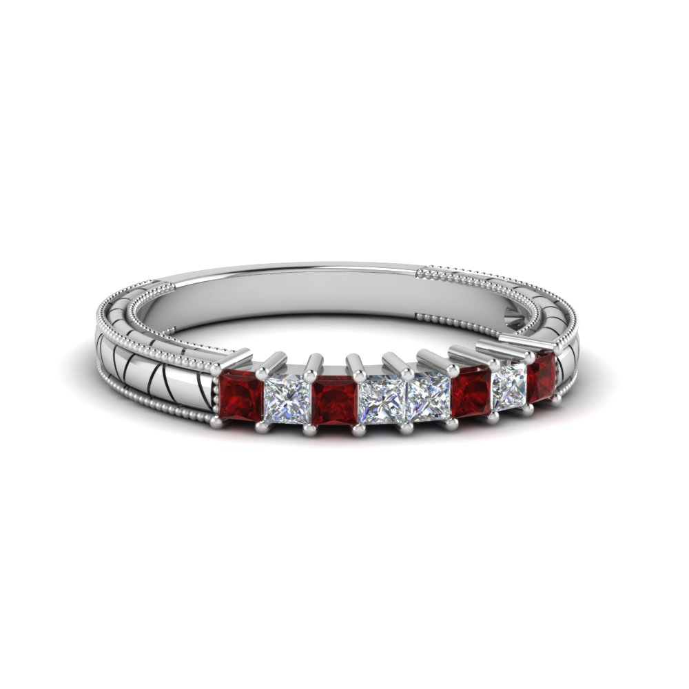 antique looking princess cut diamond wedding band with ruby in 14K white gold FDENS3227BGRUDR NL WG