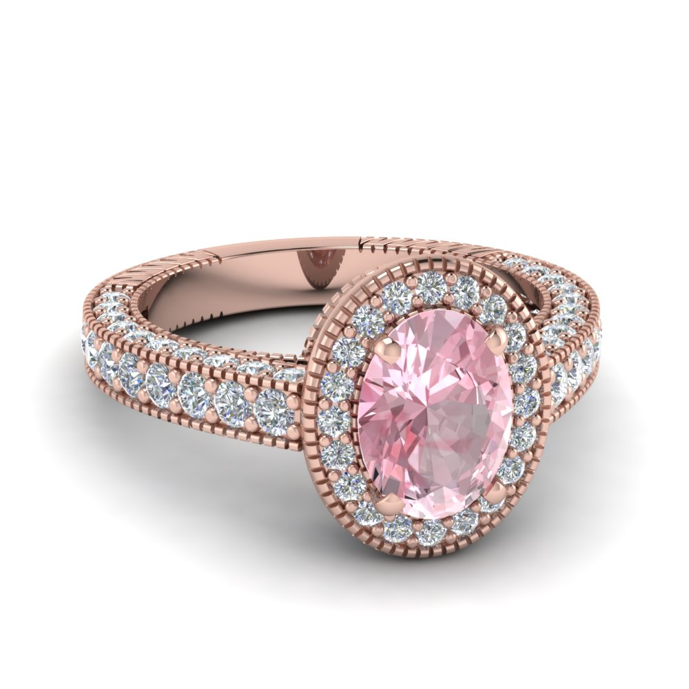 Vintage Halo Morganite Diamond Ring