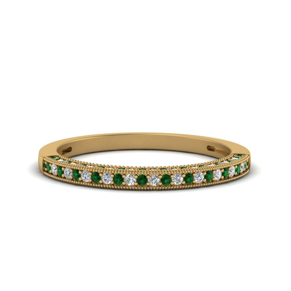 antique pave diamond wedding band with emerald in FDENS3130BGEMGR NL YG.jpg