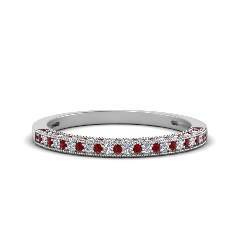 Antique Pave Ruby Wedding Band