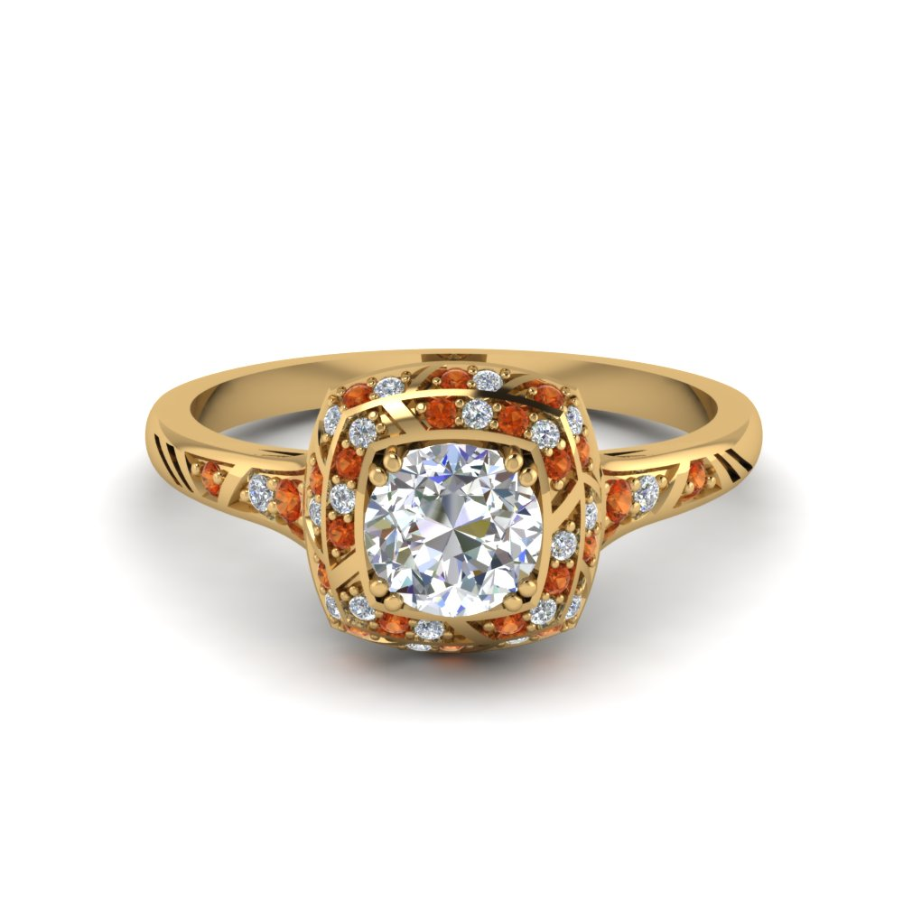 antique-pave-halo-diamond-engagement-ring-with-orange-sapphire-in-FD121961RORGSAOR-NL-YG