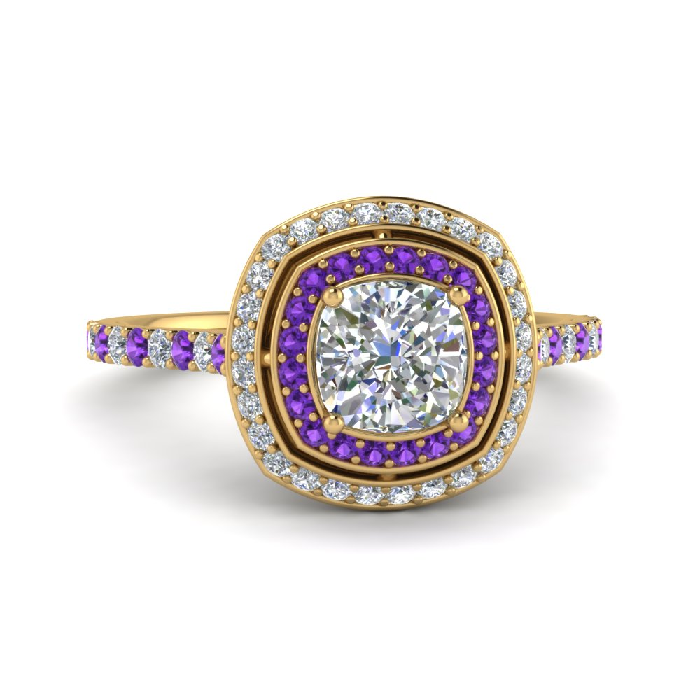 petite cushion diamond engagement ring with purple topaz double halo in FD121992CURGVITO NL YG.jpg