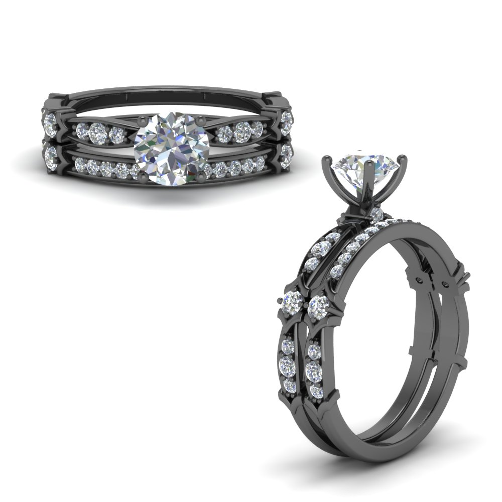 Antique Pave Diamond Ring Set
