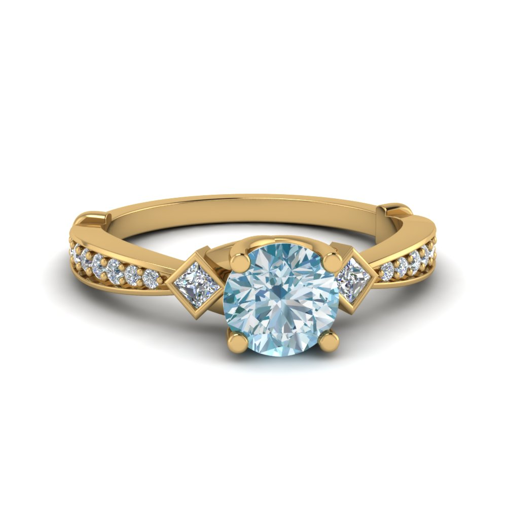 Aquamarine 3 Stone Diamond Ring