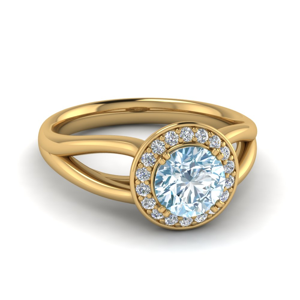 aquamarine and halo diamond colored engagement ring in 14K yellow gold FD122596RORGAQ NL YG