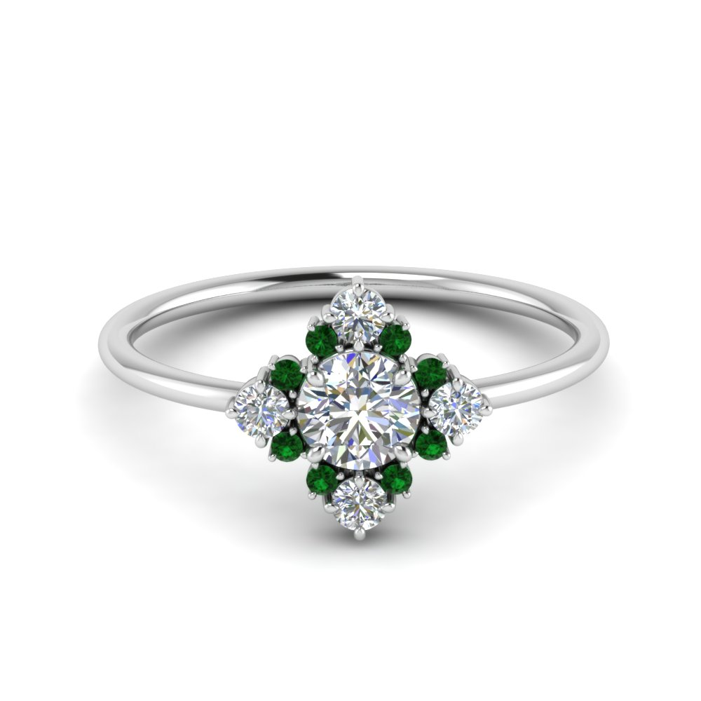 art-deco-diamond cluster-engagement-ring-with-emerald-in-FD9103ROGEMGR-NL-WG