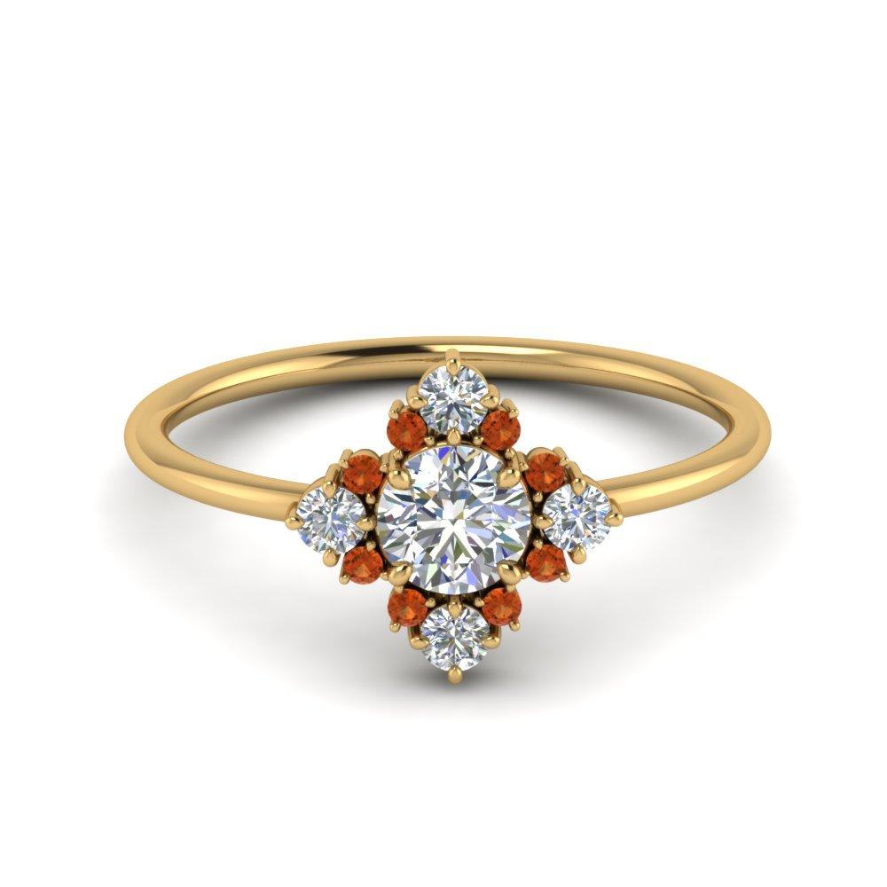 art-deco-diamond cluster-engagement-ring-with-orange-sapphire-in-FD9103ROGSAOR-NL-YG