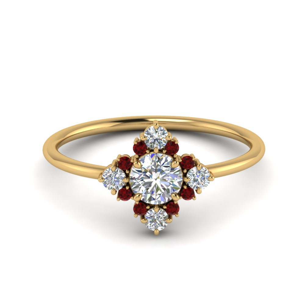 art-deco-diamond cluster-engagement-ring-with-ruby-in-FD9103ROGRUDR-NL-YG